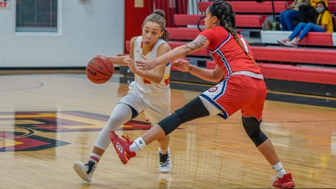 Tori Pearce scored 20 points to help lead the Flagler College women's basketball team to a victory over Francis Marion at home Wednesday. It was the Saints' first home game in front of fans during the COVID-19 pandemic.