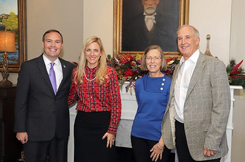 Tarleton State University's nursing program received a $1.5 million gift recently from the estate of retired Air Force Col. Charles Leigon. On hand for the donation were university President James Hurley and his wife Kindall, and Sharon and Russell Leigon.