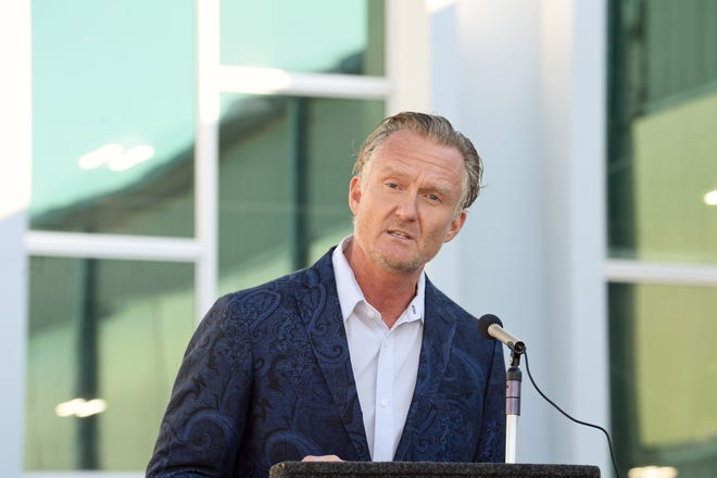 Jeff Jackson, president and CEO of PGT Innovations in Venice, at a ribbon-cutting ceremony for the company's 28,000-square-foot connector building in 2019. The company has acquired a 75% ownership stake in Eco Window Systems in a transaction expected to close Jan. 31.