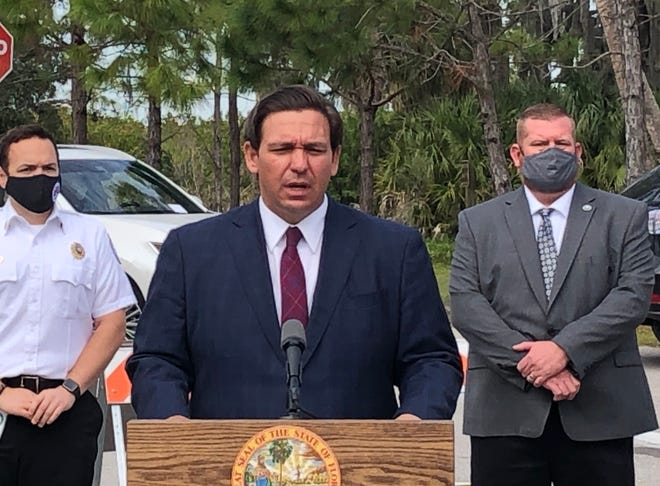 Gov. Ron DeSantis speaks in Bradenton on Wednesday.