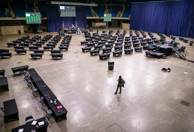 The main floor of the Bank of Springfield Center has been transformed into the working space for the Illinois House of Representatives to hold a lame-duck legislative session during the COVID-19 pandemic, Thursday, January 7, 2021, in Springfield, Ill. [Justin L. Fowler/The State Journal-Register]