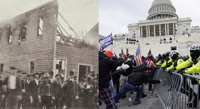 As rioters breached the nation's Capitol building on Wednesday, Jan. 2, 2021 (right), people across the country were reminded of the massacre and coup that took hold of Wilmington, N.C. in November 1898 (left).