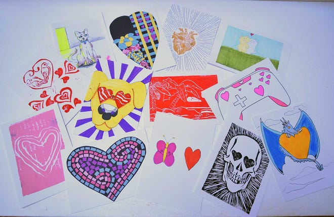 Here is a sampling of the more than 500 designs by Craven County schools students in the annual Valentine's Card exhibit and sale at the Bank of the Arts.
