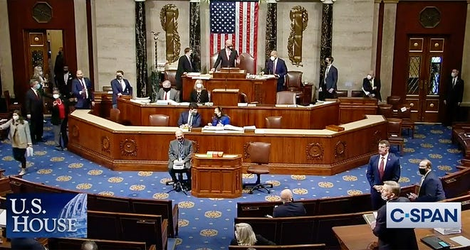 WASHINGTON - U.S. Rep. James McGovern has the gavel on the rostrum as he presides over the House of Representatives on Wednesday. Earlier, House Speaker Nancy Pelosi was ushered from the chamber.