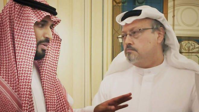 "Saudi Crown Prince Mohammed bin Salman, left, with journalist Jamal Khashoggi in a scene from the documentary ""The Dissident."""