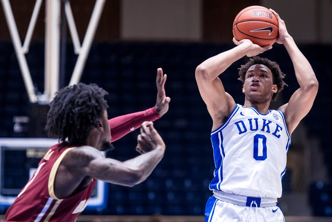 Duke Men's Basketball takes on the Boston College Eagles in the first half at the Cameron Indoor Stadium on January 6, 2021 at Durham, North Carolina.