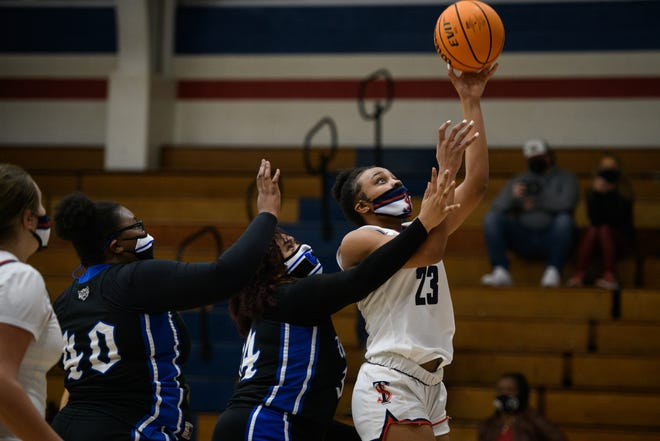 In her first game for Terry Sanford, Miya Giles-Jones scored a game-high 14 points to lead the Bulldogs in a 40-point rout of Westover.