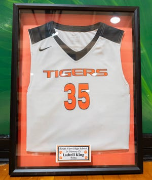 South View honored Ladrell King, who died in June at the age of 18, with a jersey dedication on Wednesday ahead of the Tigers' season opener against Douglas Byrd.