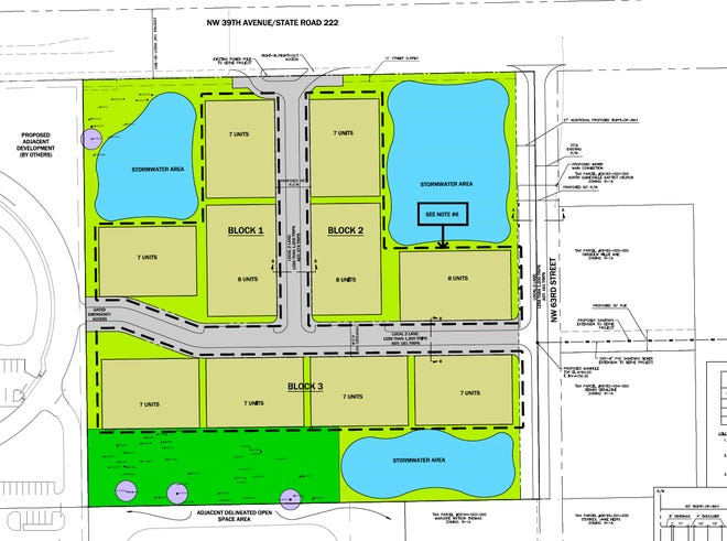 A preliminary drawing shows Tara St. Augustine, a proposed development in the 3900 block of Northwest 63rd Street. Upon completion, units would also be accessible via Northwest 39th Avenue. [Alachua County government]