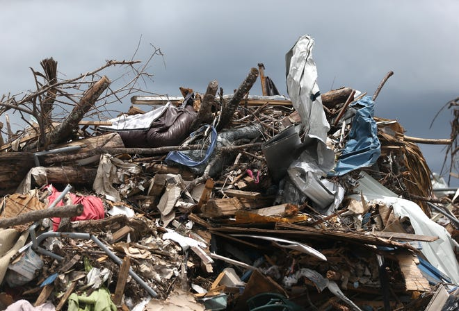 Hurricane debris stands in a giant heap on June 18, 2019 at the Steel Field Landfill.