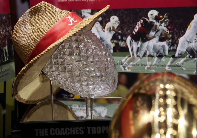 The Bryant Museum is crowded with championship trophies from multiple Crimson Tide national championships but will find a way to include one more should Alabama claim another title Monday. [Staff Photo/Gary Cosby Jr.]