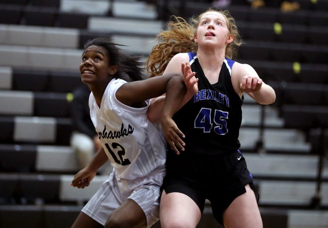 Sydnie Smith (right) was averaging 7.0 points and a team-leading 6.5 rebounds for the Bexley girls basketball team through four games. Smith was one of six players averaging at least six points.