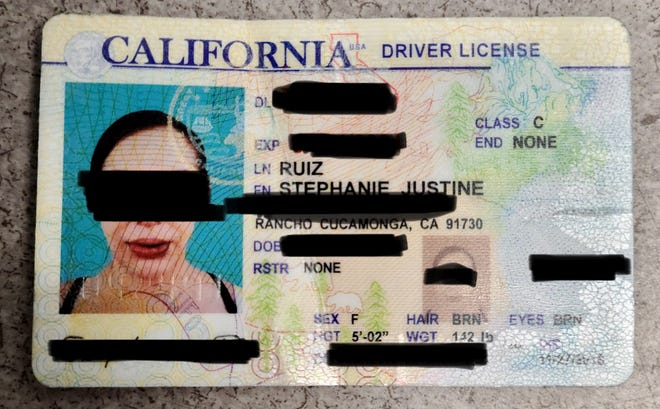 San Bernardino County Sheriff's Department officials provided this photo of a counterfeit driver's license that led to the arrest of a 29-year-old Hesperia woman on Tuesday, Jan. 5, 2021.