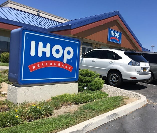 Two local men were arrested Thursday, Jan. 7, 2021, after allegedly stealing an outdoor canopy from the IHOP restaurant in Victorville.