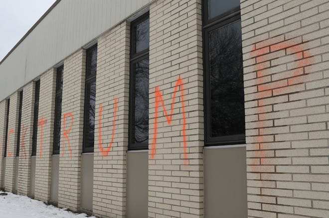An obscenity aimed at President Trump was spray-painted on the exterior of Peace Lutheran Church in Neenah. Police are investigating the vandalism.