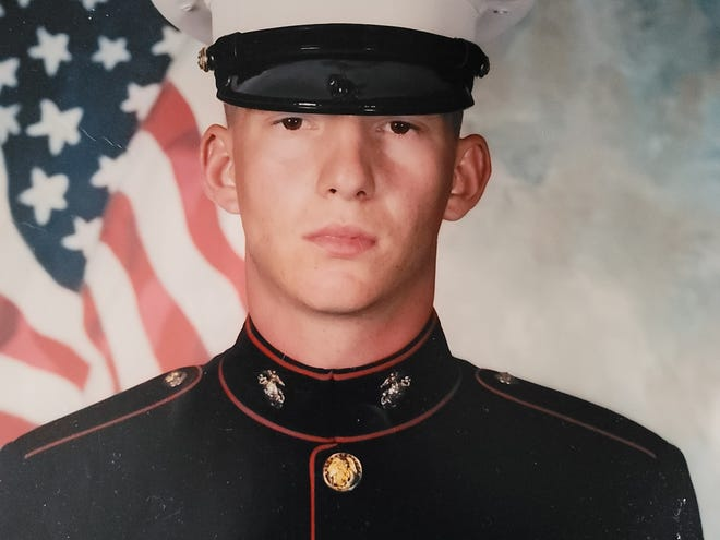 Joseph Sprouse in his Marine dress blues.