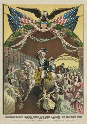 George Washington's reception by the ladies, on passing the bridge at Trenton, N.J. April 1789, on his way to New York to be inaugurated first president of the United States.