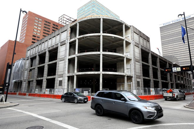The Foundry development site at  Fifth and Race streets, pictured  Jan. 7. The former Macy's store Downtown has been gutted and work has started on the exterior of the building.
