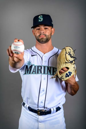Feb 20, 2020; Peoria, Arizona, USA; Seattle Mariners relief pitcher Art Warren (43) poses for a photo during spring training media day at the Peoria Sports Complex.