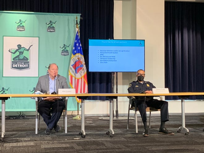 Detroit Mayor Mike Duggan and Detroit Police Chief James Craig at a COVID-19 vaccine briefing Jan. 7, 2021.