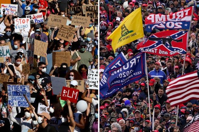 Dalam kombinasi foto ini, pada 7 Juni 2020, pengunjuk rasa yang berpartisipasi dalam rapat umum Black Lives Matter, kiri, berbaris ke pusat kota Pittsburgh untuk memprotes kematian George Floyd dan orang-orang mendengarkan ketika Presiden Donald Trump berbicara selama rapat umum 6 Januari 2021 , di Washington.