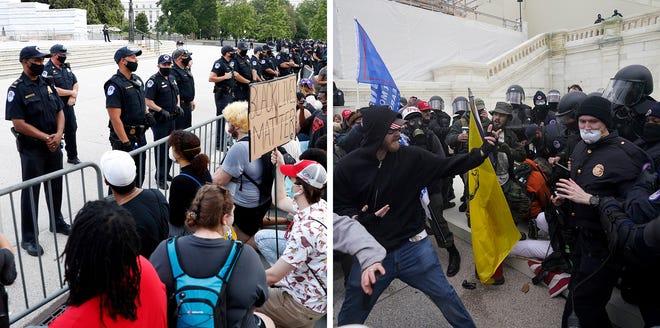 Dalam kombinasi foto ini, pada 3 Juni 2020, para demonstran, pergi, memprotes kematian George Floyd di US Capitol di Washington dan pendukung Trump mencoba menerobos penghalang polisi 6 Januari 2021, di lokasi yang sama.