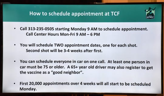 A slide shown during a press conference Thursday gives directions for Detroit residents wishing to make a COVID-19 vaccination appointment at the TCF Center garage next week.