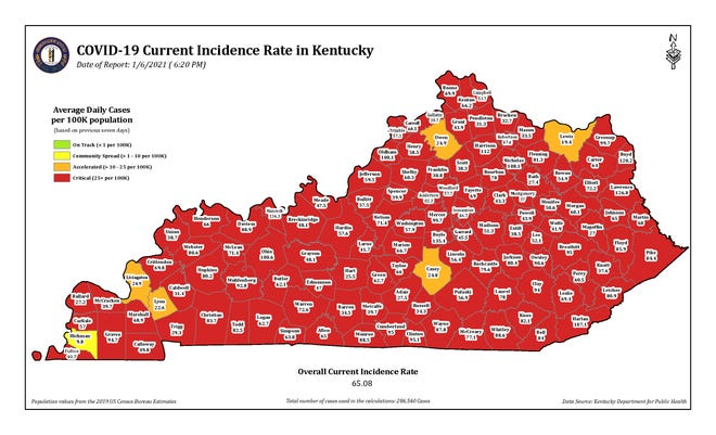 COVID-19 current incidence rate map for Kentucky as of Wednesday, Jan. 6.