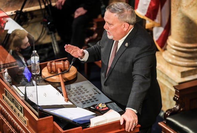 Senate President Robert Stivers presiding during the second day of the legislative session on Jan. 7, 2021.
