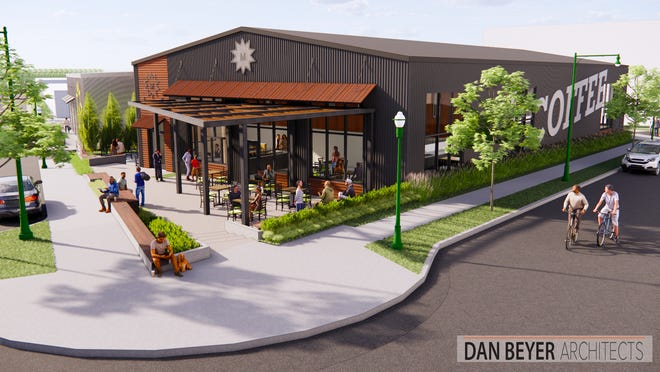 A rendering shows what Valentine Coffee Roasters would look like in its new location in Makers Row, a food and beverage cluster planned for 66th and National in West Allis, just west of the West Allis Farmers Market.