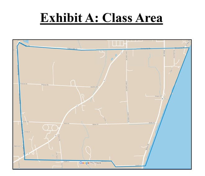 The area included in a settlement with Tyco Fire Products in the town of Peshtigo.