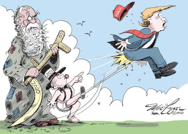 2021 greets President Trump.