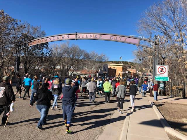 Runners line up to start the 2020 Urban Challenge Fun Run in SIlver City.