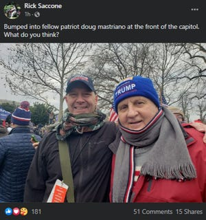A Facebook post showing state Sen. Doug Mastriano, R-Adams, and former GOP state lawmakerRick Saccone at Wednesday's pro-Trump rally in Washington.