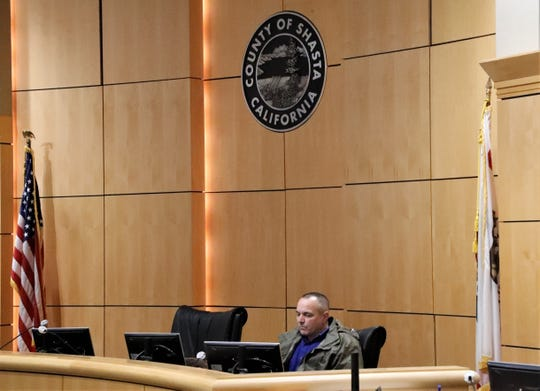 Shasta County Supervisor Patrick Jones attends a special meeting Wednesday, Jan. 6, 2021, inside the board chambers while other supervisors attended virtually.