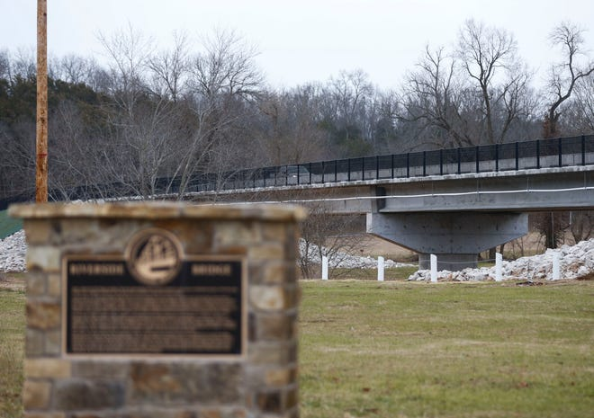 The new Riverside Bridge across the Finley River in Ozark has a 10-foot-wide bicycle and pedestrian path.