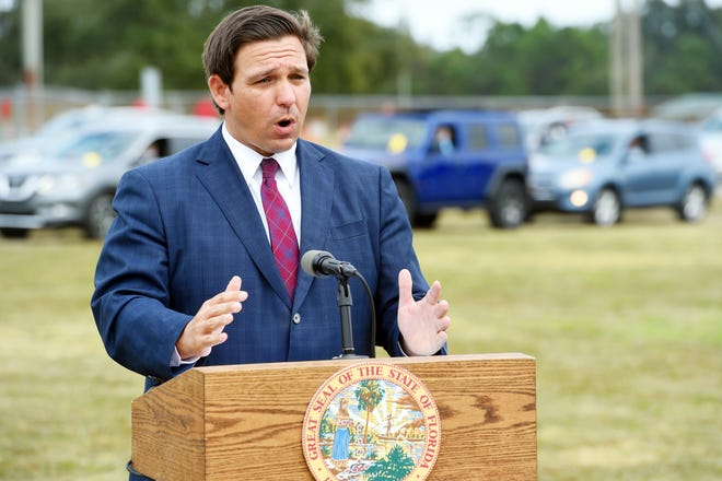 Florida Gov. Ron DeSantis held a news conference of Thursday, Jan. 7, 2020, at the Indian River County Fairgrounds as county residents lined up to receive a COVID vaccine. The governor said the state is slated to receive an additional 250,000 shots split between Pfizer and Moderna and is working on a partnership with Publix to administer the vaccine.