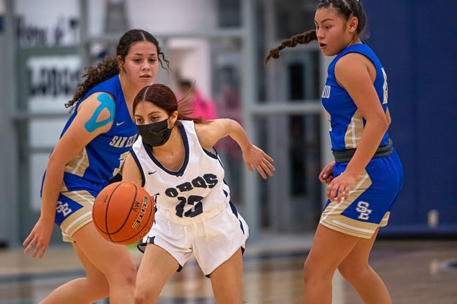 San Elizario handed Mountain View High School's varsity girls their first loss of the season. In a hard fought basketball game that Mountian View led 11-10 at halftime, San Elizario came back in the second half to win 37-35 at Mountain View High School on Jan. 6, 2020. Mountain View is now 9-1.