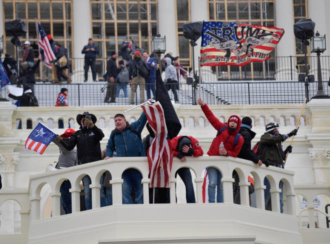 Protesters at the United States Capitol as the U.S. Congress meets to formally ratify Joe Biden as the winner of the 2020 Presidential election on Jan. 6, 2021.