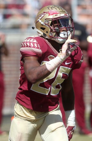 Florida State cornerback Asante Samuel Jr. could be a possible target of the Browns in the late first or second rounds of the upcoming NFL Draft.  [Alicia Devine/Tallahassee Democrat]