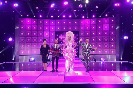 """RuPaul's Drag Race"" host RuPaul with judges Michelle Visage, Carson Kressley and Ross Mathews."