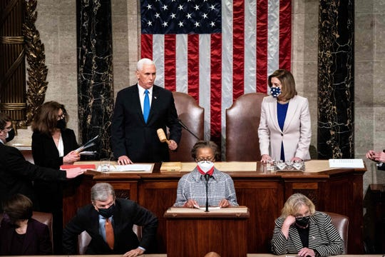 Vice President Mike Pence and House Speaker Nancy Pelosi preside over a Joint session of Congress to certify the 2020 Electoral College results.