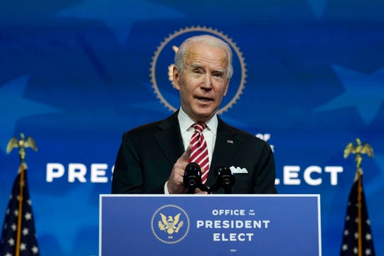 President-elect Joe Biden is pictured speaking at The Queen Theater in Wilmington, Delaware.
