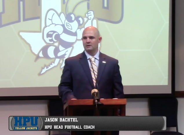 Jason Bachtel speaks at HPU's Mabee Center Friday morning in an image taken from a live video feed.