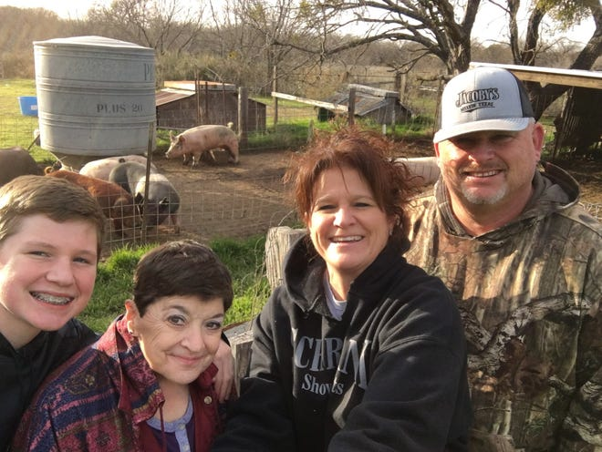 Family members of the late Larry Schwartz are pictured in  a February 2020 photo. From left are Dalton Adams (grandson), Ruth Schwartz (wife), Shannon Adams (daughter) and Donny Adams (son-in-law).