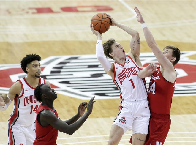 Bucknell transfer Jimmy Sotos (1) has averaged 7.9 minutes and 1.3 points per game off the bench for Ohio State this season, but he may be thrust into the starting lineup in the absence of injured point guard CJ Walker.