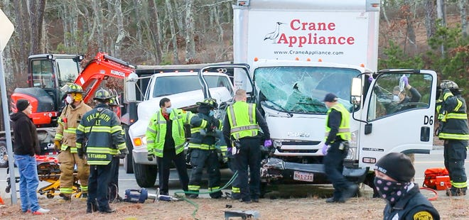 A crash involving two commercial vehicles, one towing an excavator, occurred on Route 151 at Route 28 on Friday afternoon. Three people were injured.
