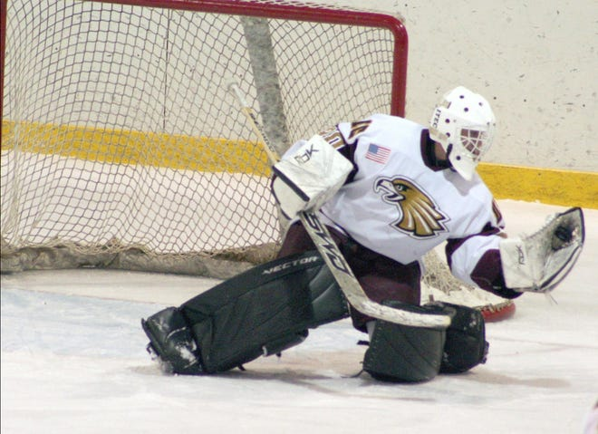 In this file photo from 2008, Golden Eagle goalie Bryan Dalbec makes a save. The 2008-09 season was Minnesota Crookston's final season of NCAA Division II hockey.