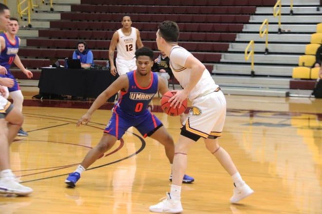 Harrison Cleary with the ball in a game against the University of Mary on Jan. 24, 2020. Cleary signed a temporary contract with Spanish club CB Almansa this week.