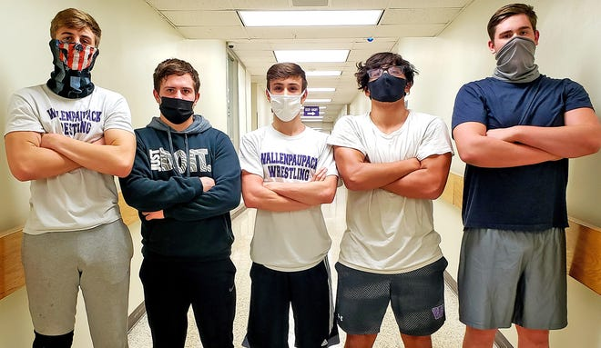 Wallenpaupack Area seniors Sam Kier (172) Dylan Hartman (160) John Creamer (132) Nick Parrella (189) and David Chapman (285) hope to lead their team to a solid season on the mats. This year the Buckhorns return with many experienced wrestlers and have added some new talent to the squad as well.